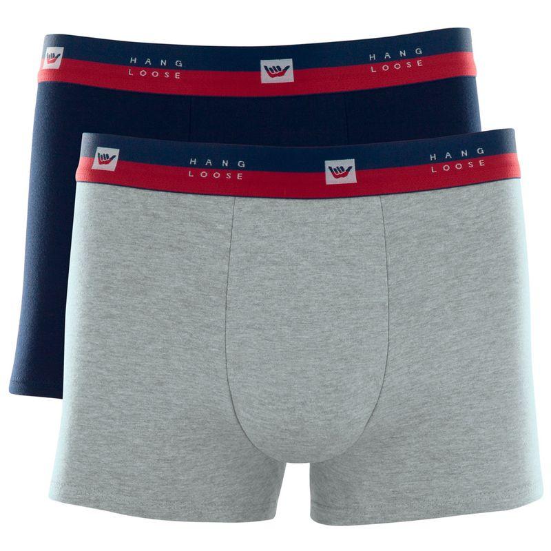 Kit 2 Cuecas Boxer Cotton Cinza Mescla Claro Hang Loose