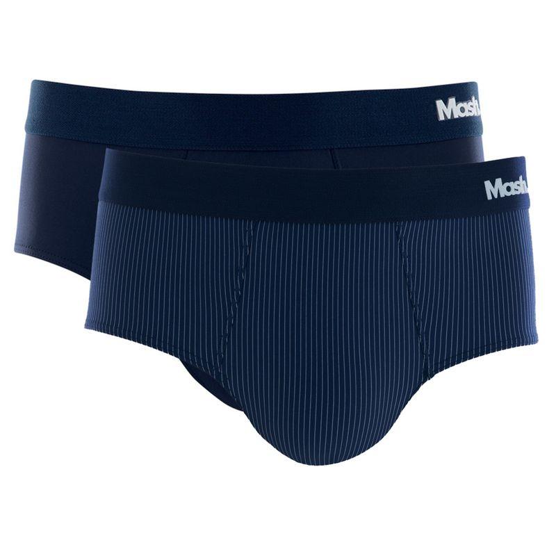 Kit 2 Cuecas Slip Microfibra Azul Escuro Mash