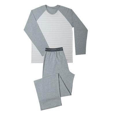 Conj. Pijama Cotton Listrado Manga Longa Cinza Mescla Claro Mash