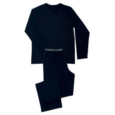 Conj. Pijama Cotton Listrado Manga Longa Preto Mash