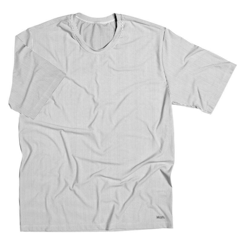 Camiseta Microfibra Listrada Manga Curta Branco Mash