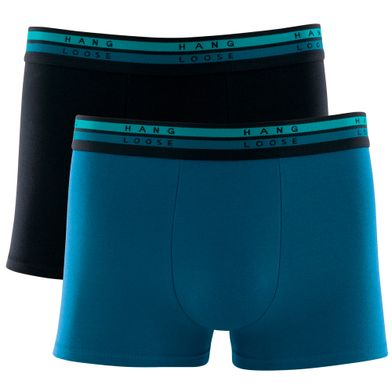 Kit 2 Cuecas Boxer Cotton Azul Petroleo Hang Loose