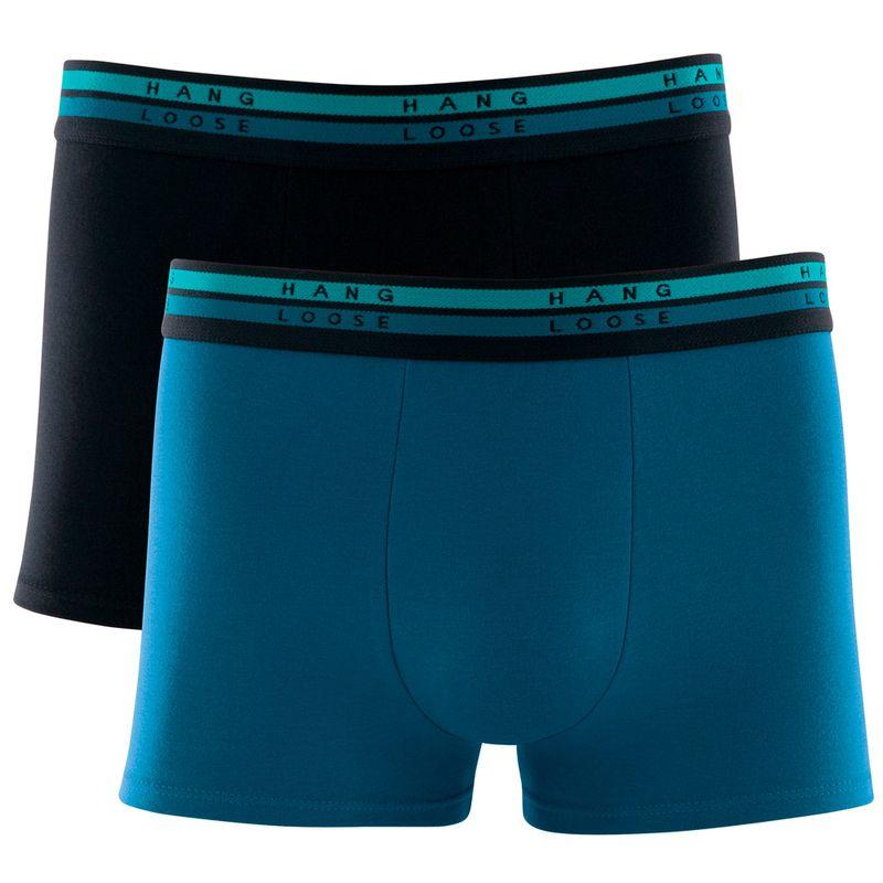 Kit 2 Cuecas Boxer Cotton Azul Petroleo Hang Loose
