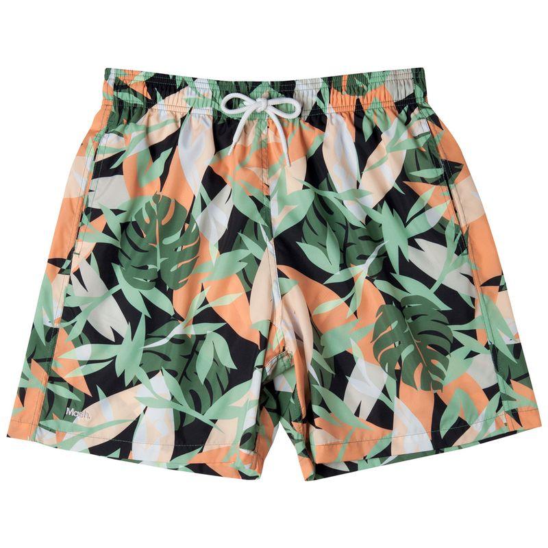Shorts Estampado Folhagem FPS 30 Verde Mash