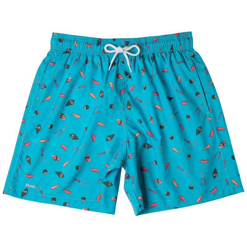 Shorts Estampado Foods FPS 30 Azul Claro Mash