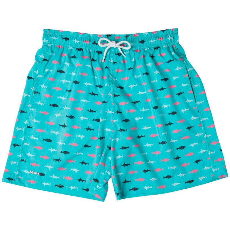 Shorts Estampado Peixes FPS 30 Azul Claro Mash