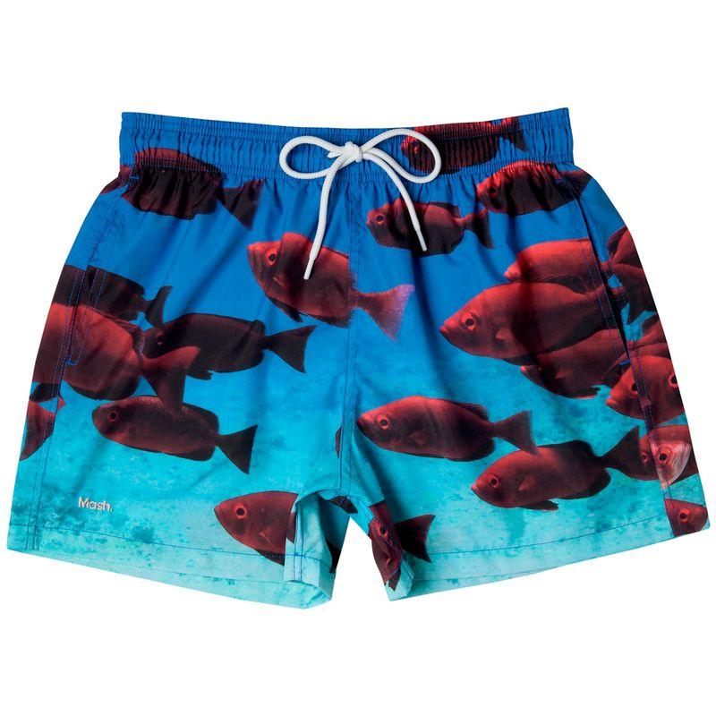Shorts Curto Estampado Peixes FPS 30 Azul Turquesa Mash