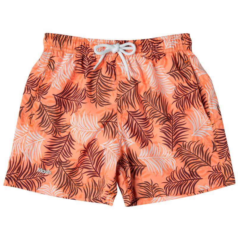 Shorts Estampado Folhagem Color FPS 30 Infantil Laranja Mash