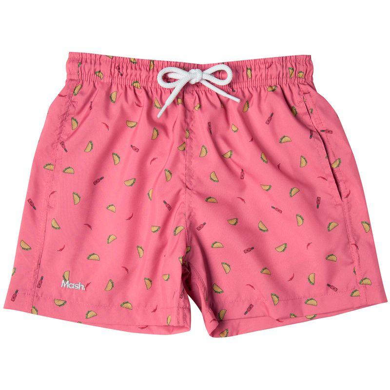 Shorts Estampado Foods FPS 30 Infantil Rosa Medio Mash