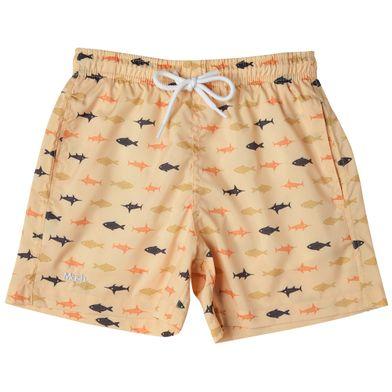 Shorts Estampado Peixes FPS 30 Infantil Amarelo Claro Mash