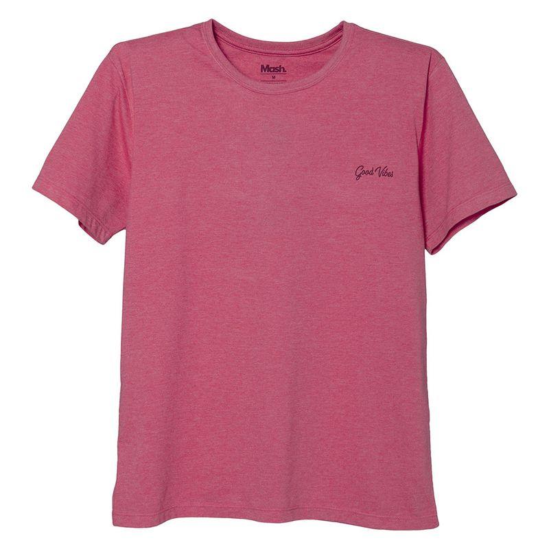 Camiseta Estampada Good Vibes Rosa Magenta Mash