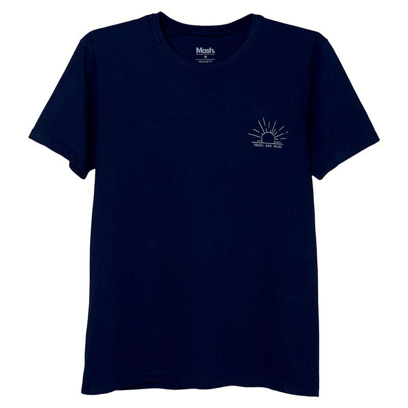 Camiseta Estampada Coqueiro Azul Marinho Mash