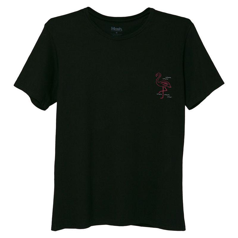 Camiseta Estampada Flamingo Preto Mash