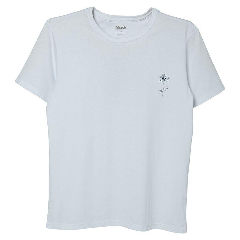 Camiseta Estampada Flor Branco Mash