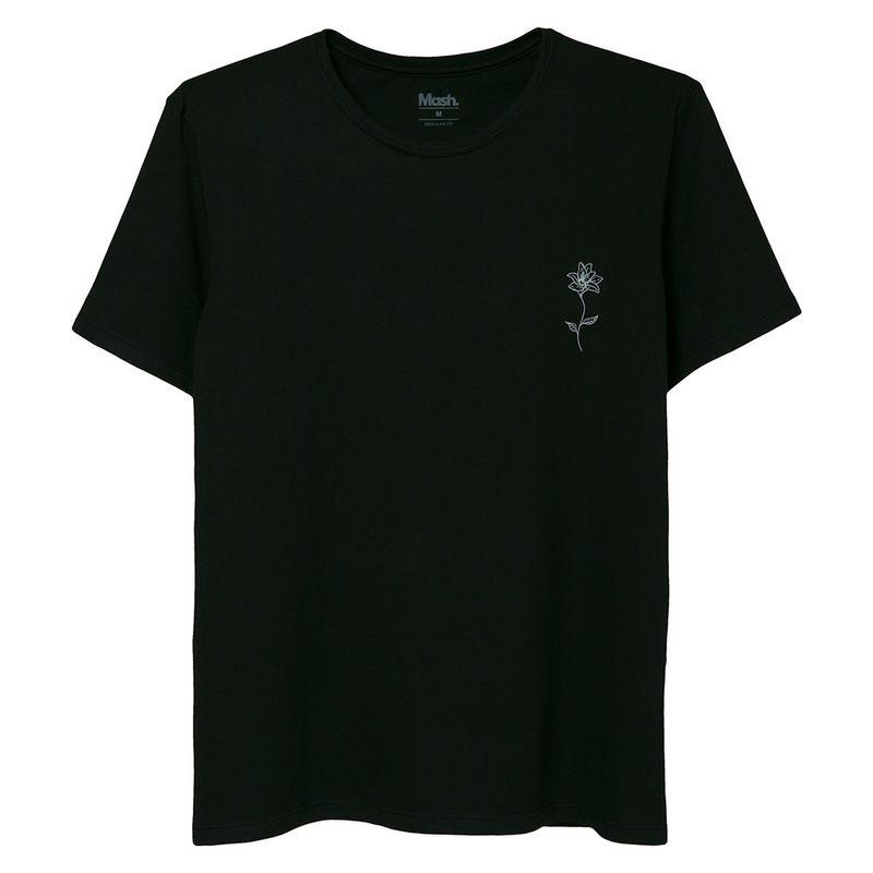 Camiseta Estampada Flor Preto Mash
