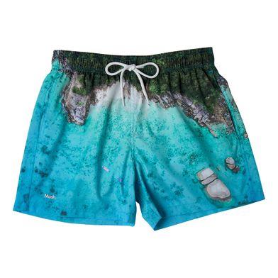 Shorts Curto Estampado Paisagens FPS 30 Azul Claro Mash