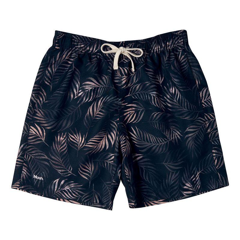 Shorts Casual Estampado Folhagem FPS 30 Preto Mash