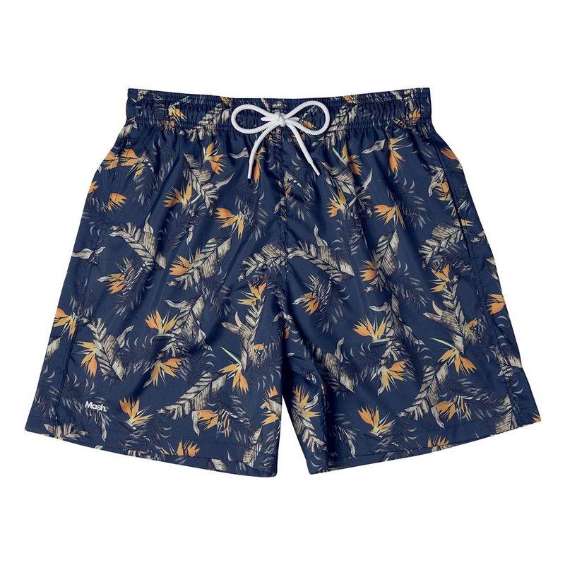 Shorts Estampado Folhagem FPS 30 Azul Marinho Mash
