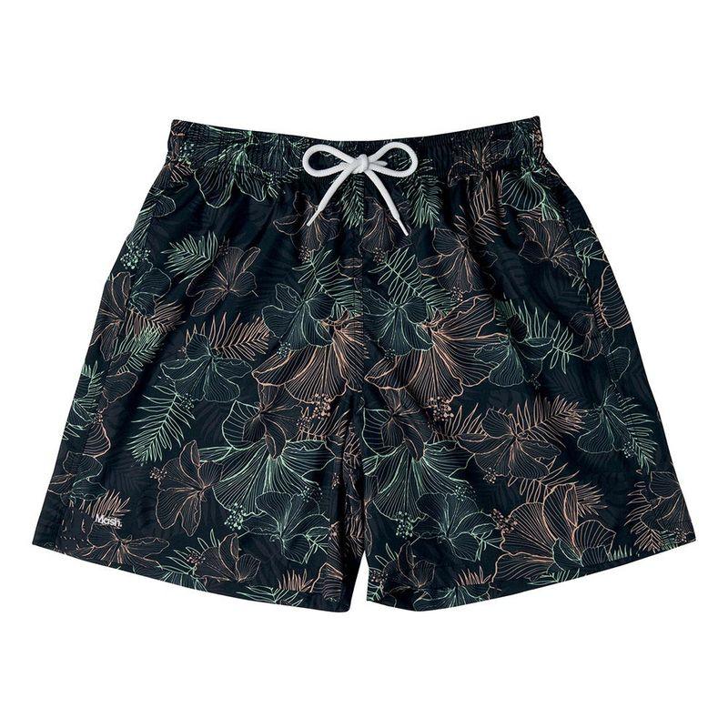Shorts Estampado Floral Hibisco FPS 30 Preto Mash