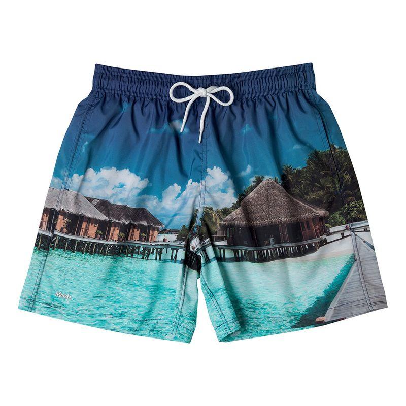 Shorts Estampado Destinos FPS 30 Azul Denin Mash