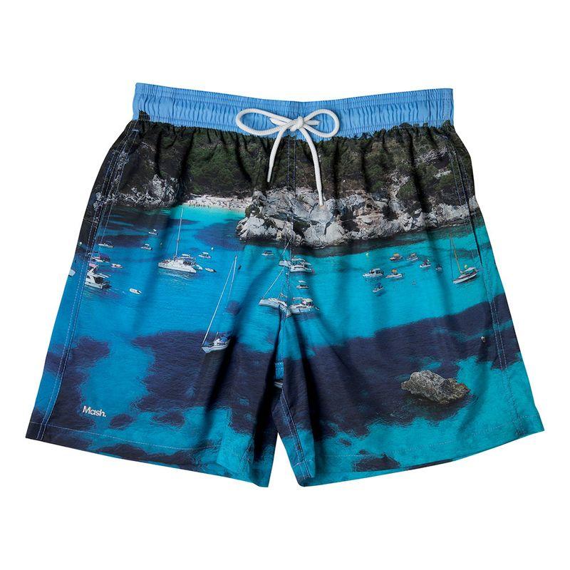 Shorts Estampado Paisagens FPS 30 Azul Piscina Mash