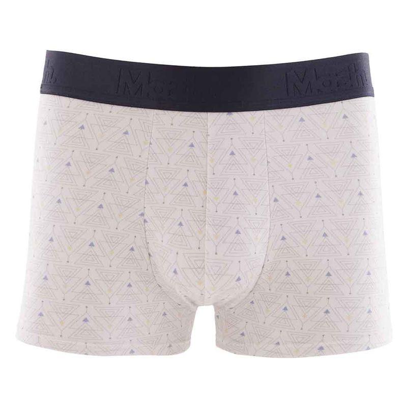 Cueca Boxer Cotton Estampada Geométrica Branco Mash