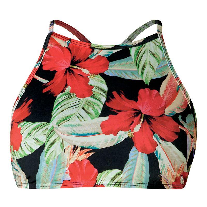 Biquini Top Cropped Estampado Floral FPS 50 Preto She