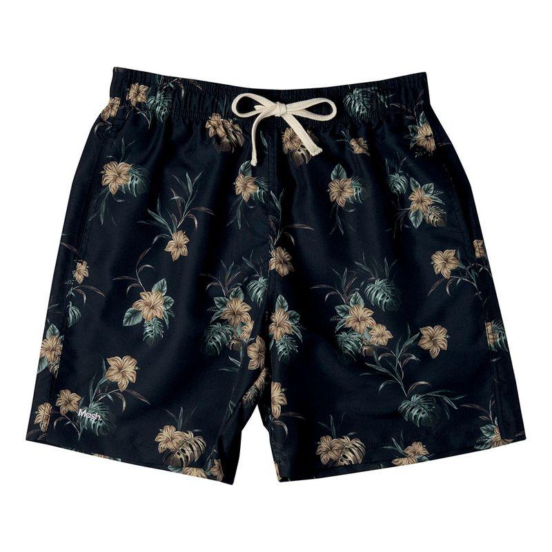 Shorts Casual Estampado Floral FPS 30 Preto Mash