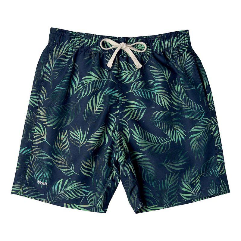 Shorts Casual Estampado Folhagem FPS 30 Azul Marinho Mash