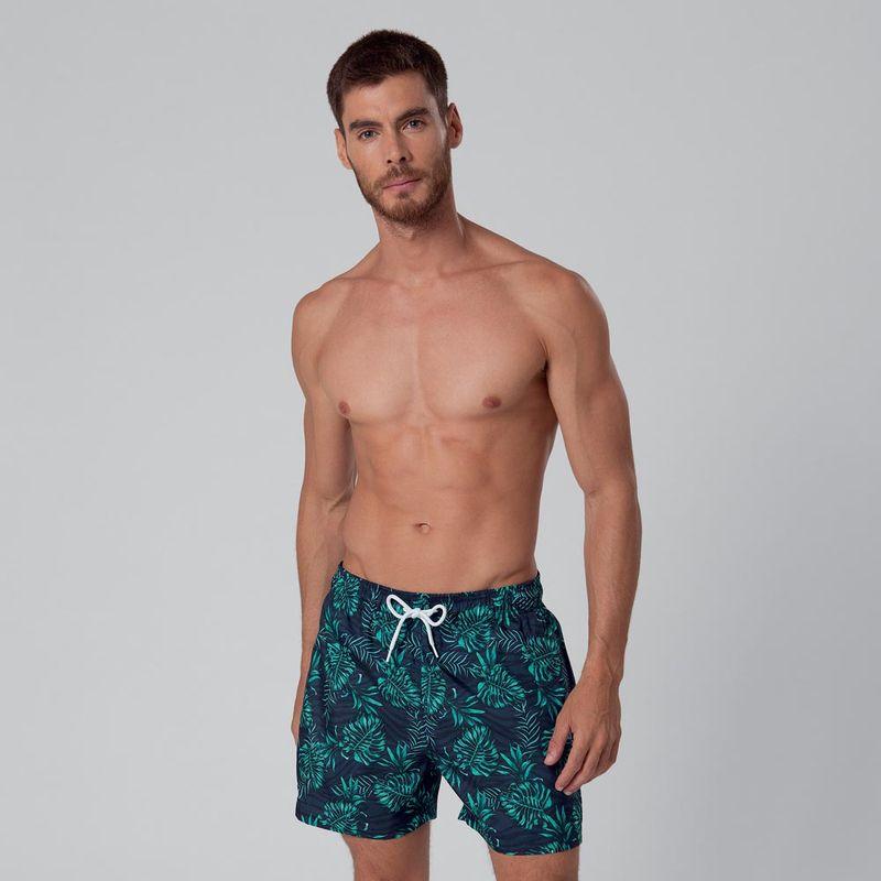 Shorts Curto Estampado Folhagem FPS 30 Mash