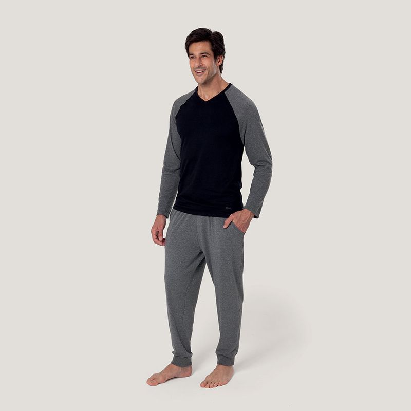Pijama manga longa gola V Cotton com bolso
