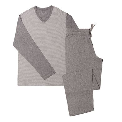 Pijama manga longa gola V Viscose