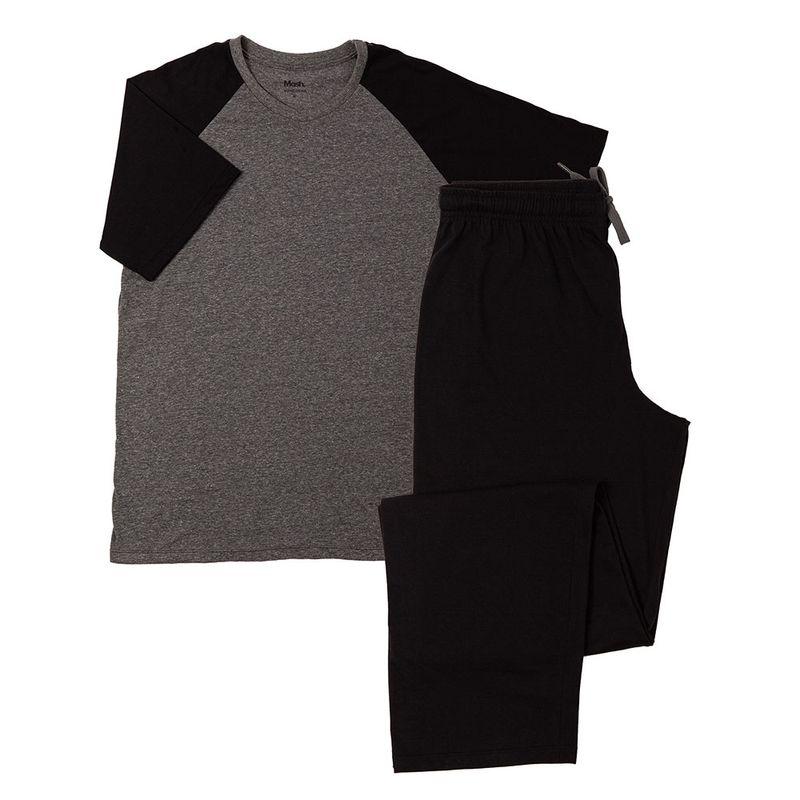 Pijama manga curta gola careca algodão