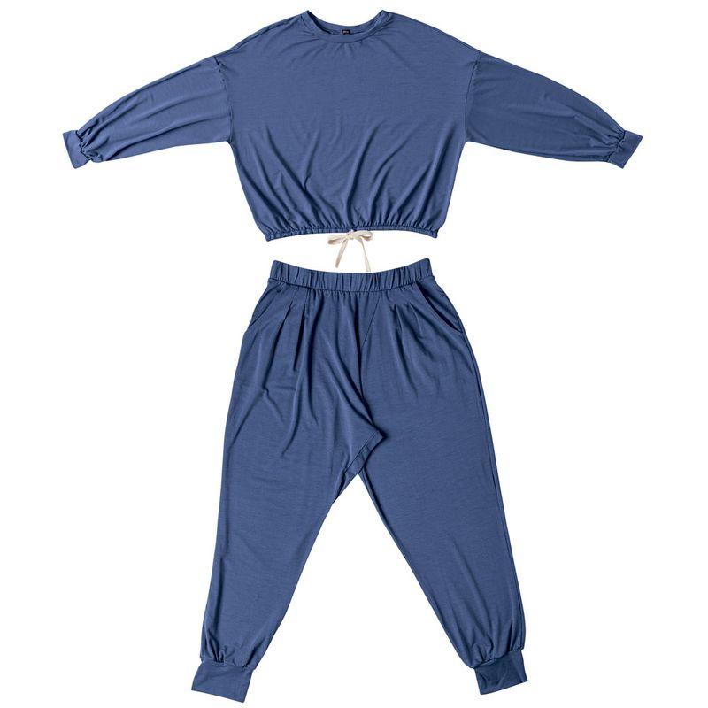 Conjunto Modal Blusa Crooped e Calca Saruel She